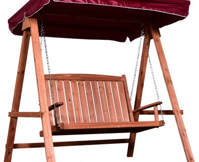Outsunny Fir Wood 2-Seater Outdoor Garden Swing Chair w/ Canopy Wine Red 5056029882535