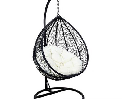 Charles Bentley Rattan Hanging Swing Chair Black with Cream Cushion