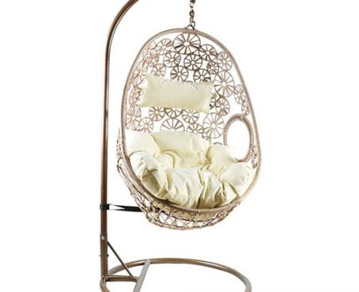 Charles Bentley Hanging Rattan Swing Chair Floral Design with Cushion - Natural