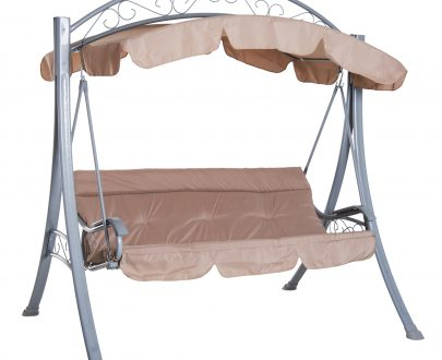 Outsunny 3-Person Swing Chair Patio Lounger Canopy Shelter Cushioned Seat Heavy Duty,Steel-Beige 5056029888308