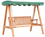 HOMCOM 3-Seater Wooden Garden Swing Chair Seat Bench-Green 5060265999254