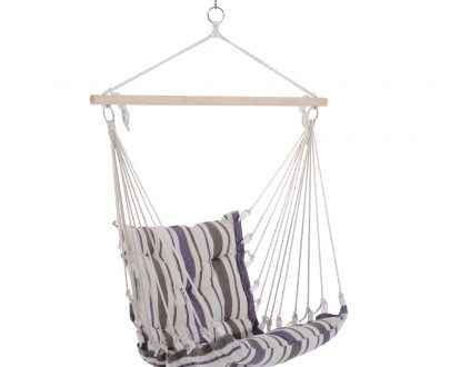 Outsunny Hanging Swing Chair-Brown/White Stripes 5056029890462