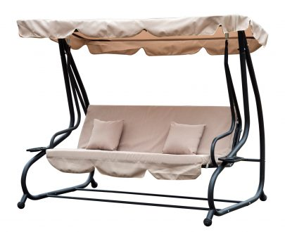 Outsunny 3 Seater Garden Swing Chair Beige Outdoor Convertible Chair Bench Garden Hammock Patio Canopy Bed 5056029885611