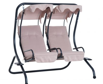 Outsunny Garden Outdoor Swing Chair 2 Seater Swinging Hammock Bench Patio Cushioned Seat With Tray Beige 5056029888940