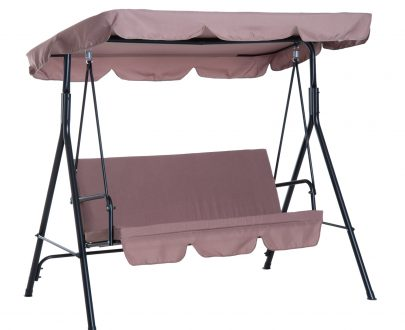 Outsunny 3 Seater Canopy Swing Chair Heavy Duty Outdoor Garden Bench with Sun Cover Metal Frame - Brown 5056029888957