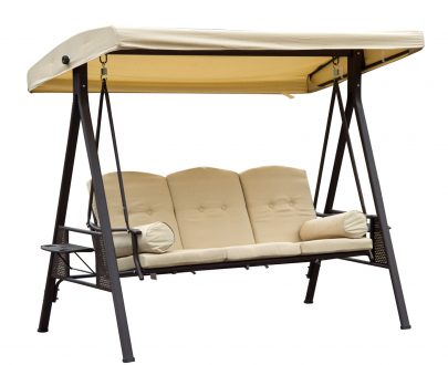 Outsunny Steel Swing Chair Hammock Garden 3 Seater Canopy Cushion Shelter Outdoor Bench Beige 5056029888964