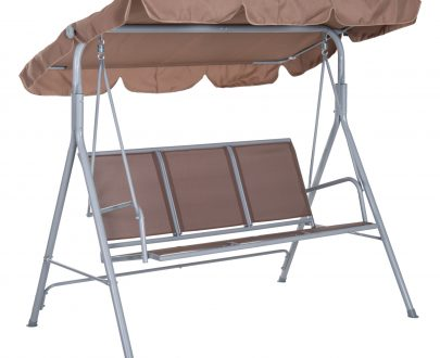 Outsunny Outdoor 3-Seater Swing Chair-Brown 5056029888346