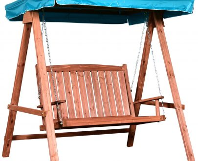 Outsunny Fir Wood 2-Seater Swing Chair w/ Canopy Blue 5056029878675