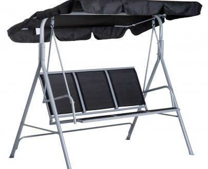 Outsunny Outdoor 3-Seater Swing Chair-Black 5056029888339