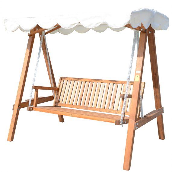 HOMCOM 3-Seater Wooden Garden Swing Chair Seat Bench-Cream 5060265999247