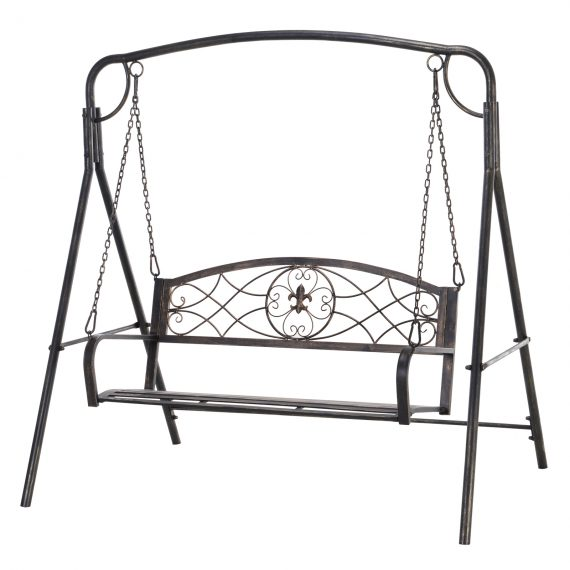 Outsunny Steel 2-Seater Outdoor Garden Swing Chair Bronze 5056029885789