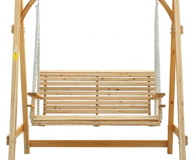 Outsunny 2-Seater Larch Wood Swing Chair Bench 5060348505389