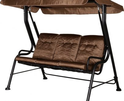 Outsunny Steel Frame 3-Seater Outdoor Garden Swing Chair w/ Canopy Brown 84A-140V70BN 5056029884867