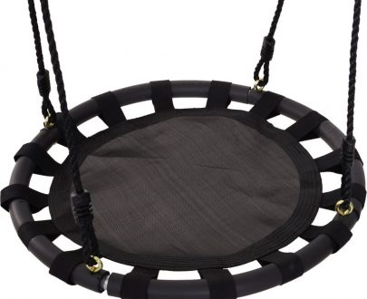 HOMCOM 60cm Kids Hanging Tree Swing Nest Seat Metal Frame Backyard Playground Black 84A-094 5056029827307