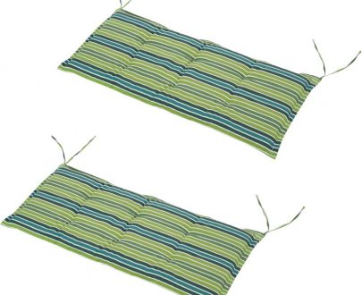 Outsunny Polyester Set Of 2 Swing Chair Cushion Green Stripes 84B-431V70YG 5056029847664