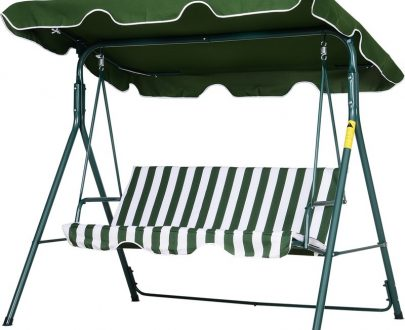 Outsunny Steel 3-Seater Swing Chair w/ Adjustable Canopy Green 84A-054V01 5056029886342