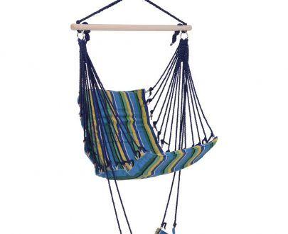 Outsunny Hammock Swing Chair Hanging Rope Striped Seat w/ Foot Rest Indoor Outdoor Porch 84A-108YL 5056029831090