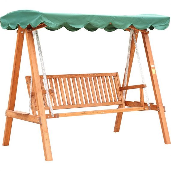 HOMCOM 3-Seater Wooden Garden Swing Chair Seat Bench-Green 01-0302 5060265999254