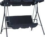 Outsunny Hammock Swing Chair, 3-Seater, Adjustable-Black 84A-054BK 5056029887295