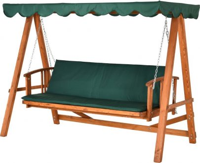 Outsunny Wooden Garden 3-Seater Outdoor Swing Chair 01-0078 5060265998714