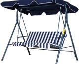 Outsunny Steel 3-Seater Swing Chair w/ Adjustable Canopy Blue 84A-054V01BU 5056029889077