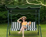 Outsunny Steel 3-Seater Swing Chair w/ Canopy Green 84A-118 5056029889152