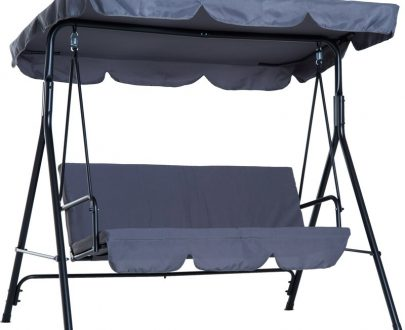 Outsunny 3 Seater Canopy Swing Chair Garden Rocking Bench Heavy Duty Patio Metal Seat w/Top Roof - Grey 84A-054GY 5056029885550
