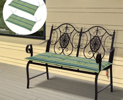Outsunny Polyester Set Of 2 Swing Chair Cushion Green Stripes 5056029847664