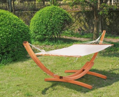 Outsunny Wooden Double Hammock Bed-White 5056029857335