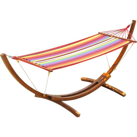 Outsunny Deluxe Single Wooden Hammock W/ Arc Stand Standing Frame 5060265999339