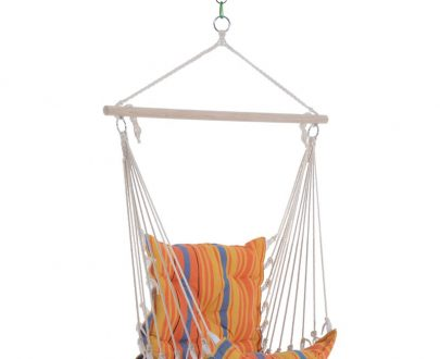 Outsunny Hanging Swing Chair-Multi-Colour Stripes 5056029890455