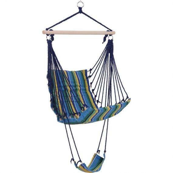 Outsunny Hammock Swing Chair Hanging Rope Striped Seat w/ Foot Rest Indoor Outdoor Porch 5056029831090