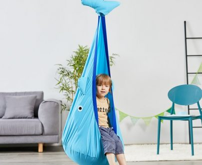 Outsunny Kids Pod Swing Seat Sensory Hammock Children Hanging Chair with 100% Cotton Canvas Hardware for Indoor and Outdoor Use Blue 5056399146992