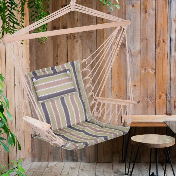 Outsunny 100x106cm Hanging Hammock Chair Thick Rope Frame Pillow Wooden Arms Stripe Multicoloured 5056399106514