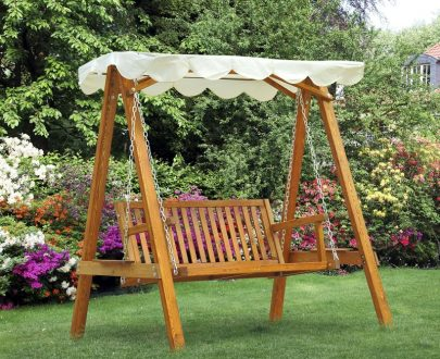 Outsunny 2-Seater Wood Garden Chair Swing Bench Lounger-Cream 5060265999261