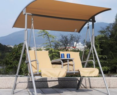 Outsunny Outdoor Love Seat Swing Chair, Steel-Beige 5056029888322