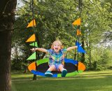 Outsunny Saucer Tree Swing Set, Adjustable Rope, Steel Frame, Waterproof, Indoor Outdoor for Kids Over 3 Years Old, Blue Green and Orange 5056399146008