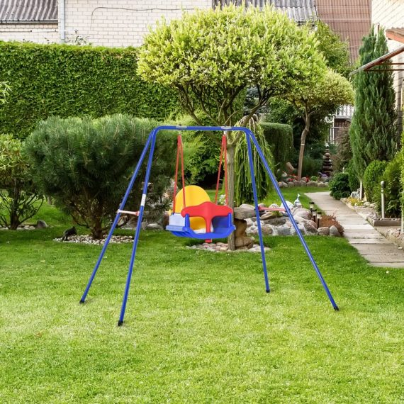Outsunny Metal Swing Set with Baby Seat Safety Harness A-Frame Stand for Backyard Playground Outdoor Playset for Kid Age 3-36 Months 5056399146985