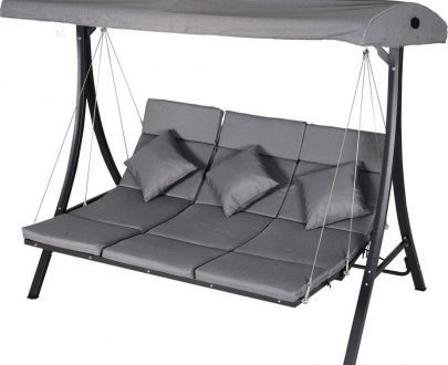 Outsunny Steel Pipe 3-Seater Outdoor Garden Recliner Swing Chair Grey 5056029884782