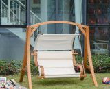Outsunny Wooden Porch Swing Chair A-Frame Wood Log Swing Bench Chair With Canopy and Cushion for Patio Garden Yard 5056399143359