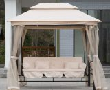 Outsunny Outdoor 2-in-1 Convertible Swing Chair Bed 3 Seater Porch w/Nettings 5056029832127