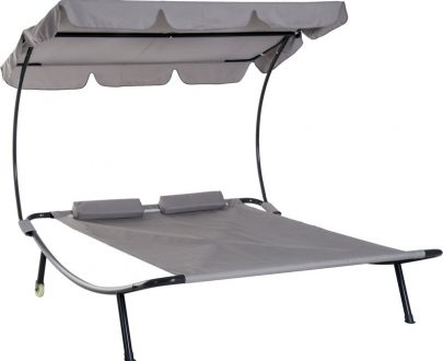 Outsunny Double Hammock Bed W/Pillows-Grey 5056029888360