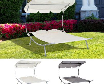 Outsunny Double Hammock Sun Lounger Bed Shelter Shade Canopy Adjustable 2 Pillows 5056029895481