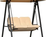 Outsunny 2-Seater Swing Chair Hammock Cushioned Bench Seat-Beige/Black 5060348505655