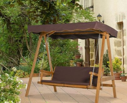Outsunny 3 Seater Outdoor Garden Swing Chair with Adjustable Canopy, Wooden Hammock Bench with Padded Cushions for Patio Yard, Brown 5056399145261